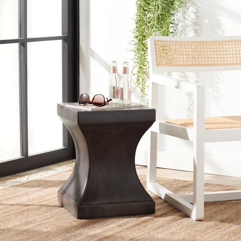 """SAFAVIEH Outdoor Curby Concrete Indoor/Outdoor Accent Table - 13.7"""" W x 13.7"""" L x 17.7"""" H"""