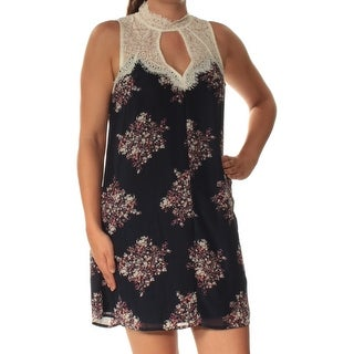 Womens Navy Floral Sleeveless Above The Knee Shift Dress Size: S