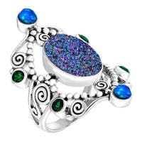 Sajen Natural Green Druzy & Opal Quartz Scroll Ring in Sterling Silver