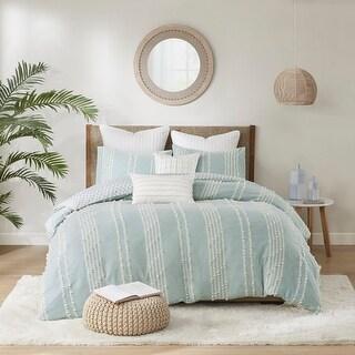 INK+IVY Kara Aqua Cotton Jacquard Comforter Set