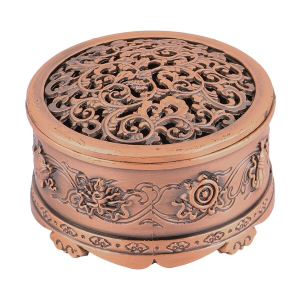 Home Alloy Hollow Design Incense Burner Container Champagne Color 6cm Inner Dia