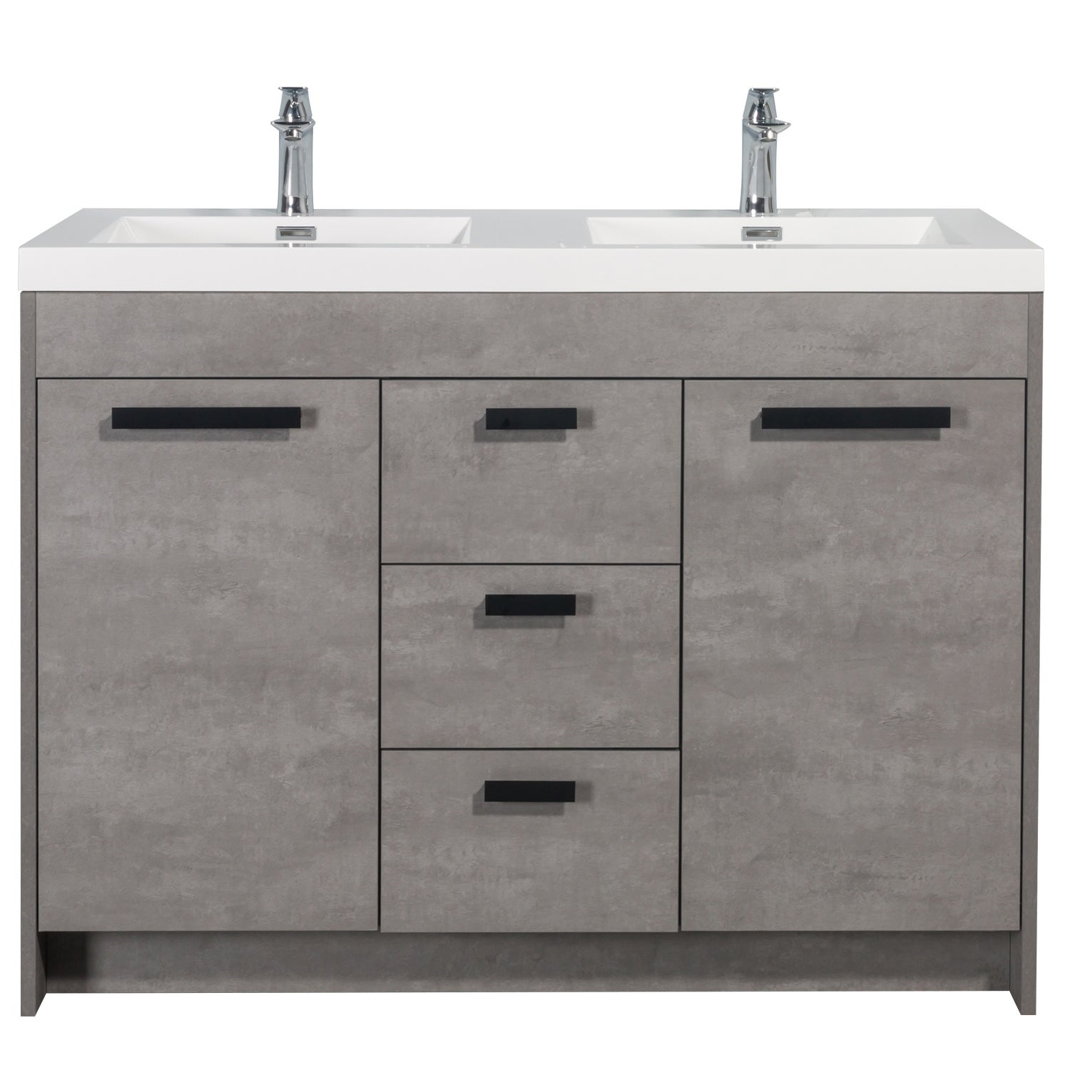 Eviva Lugano 48 Cement Gray Modern Double Sink Bathroom Vanity W White Integrated Top On Sale Overstock 32352422
