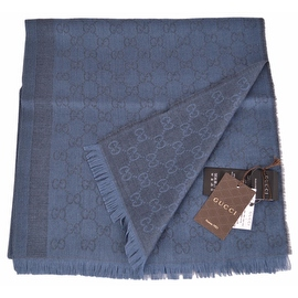 Gucci Women's 359908 Wool Silk Blue Overdyed GG Guccissima Scarf Shawl