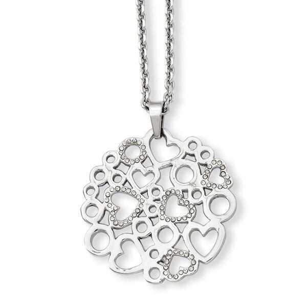 Stainless Steel Polished & Crystal Hearts Pendant 20in Necklace (2 mm) - 20 in