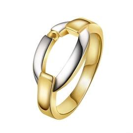 Gold Plated Onyx Layering Interlock Band Ring