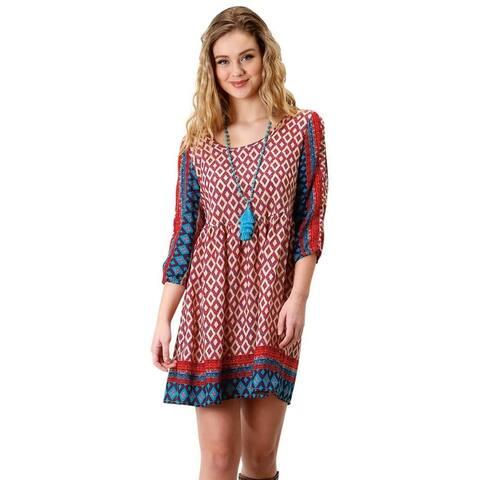 Roper Western Dress Womens ¾ Sleeve Peasant Scoop - Multi-Color