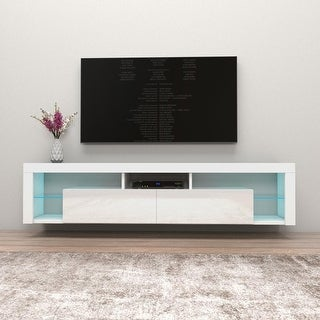 "Link to Milano 200 Wall Mounted Floating 79"" TV Stand with 16 Color LEDs Similar Items in TV Mounts & Stands"