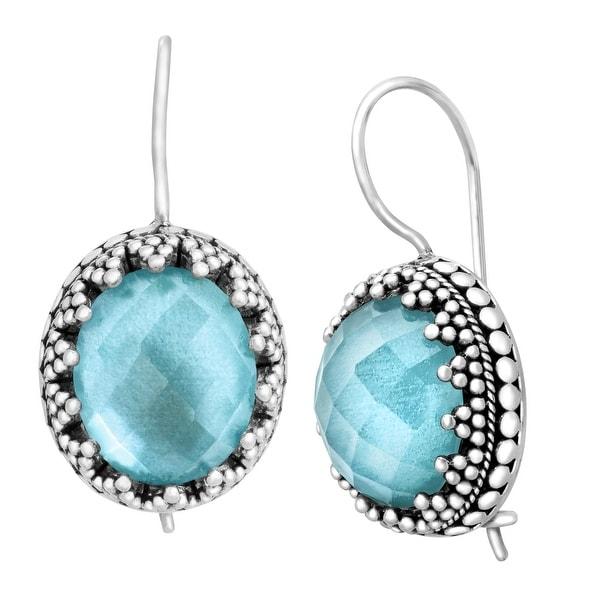Sajen Blue Quartz & Mother-of-Pearl Doublet Earrings in Sterling Silver