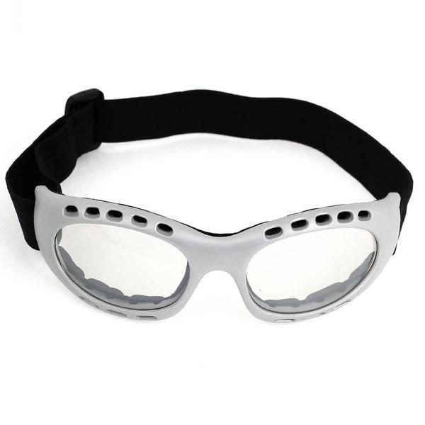 Unisex Gray Plastic Full Frame Clear Lens Anti Sand Sports Ski Goggles Glasses
