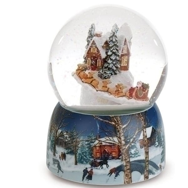 "Set of 2 Musical Village with Rotating Santa in Sleigh Christmas Glitter Dome 6.75"" - BLue"