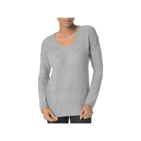 NYDJ Womens Pullover Sweater Sequined Scoop Neck
