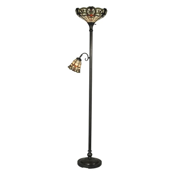 Dale Tiffany TR10022 Victorian 2 Light Tiffany Torchiere with Side Lamp with Art Glass Shades - mica bronze