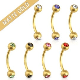 Matte Gold IP with CZ 316L Surgical Steel Eyebrow Curve Barbell (Sold Ind.)