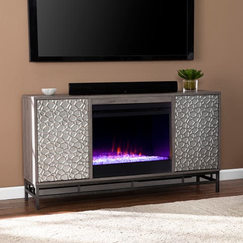Silver Orchid Hampden Contemporary Gray Wood Color Changing Fireplace