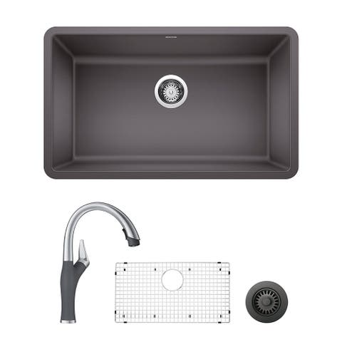 Blanco Precis/Artona Undermount Kitchen Sink and Faucet Set and Strainer - N/A