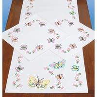 Stamped Dresser Scarf & Doilies Perle Edge-Fluttering Butterflies