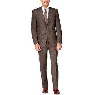 Marc New York Slim Fit Brown Donegal Two Piece Suit 40 Short 40S Pants 33W