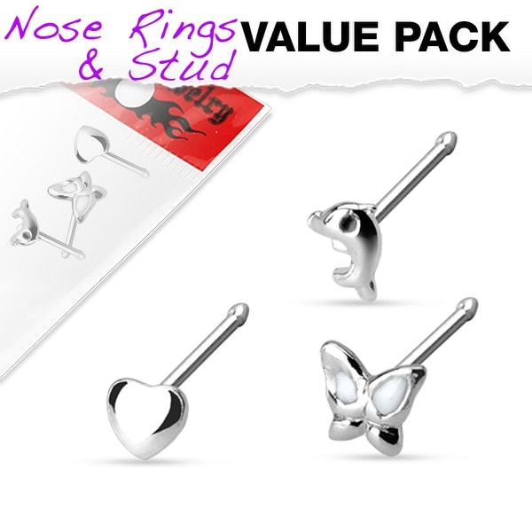3 Pcs Value Pack of Assorted .925 Sterling Silver Nose Stud