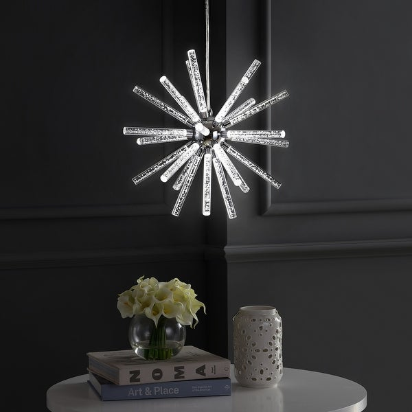 """Soyuz 19.5"""" Adjustable Integrated LED Starburst Metal/Acrylic Pendant, Chrome/Clear by JONATHAN Y. Opens flyout."""