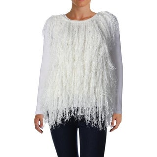 DKNY Womens Fringe Knit Pullover Sweater - M