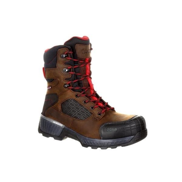 "Rocky Work Boots Mens Treadflex 8"" Lace Waterproof Dark Brown"