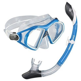 U.S. Divers Unisex Admiral Lx Mask/Island Dry Snorkel Set, Neon Blue, Os