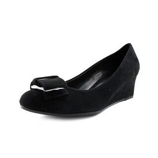 Vaneli Arda Women Open Toe Suede Black Wedge Heel
