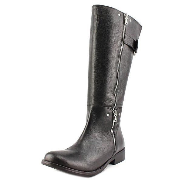 Two Lips Krave Widecalf Women  Round Toe Leather Black Knee High Boot