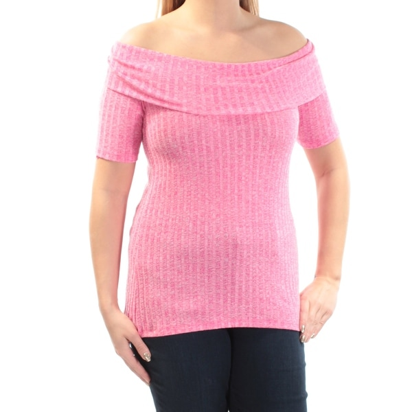 beb7f4bc58ac Shop MICHAEL KORS Womens Pink Ribbed Long Sleeve Off Shoulder Sweater Size:  L - Free Shipping On Orders Over $45 - Overstock - 23452936