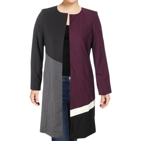 Calvin Klein Womens Topper Jacket Colorblock Open Front