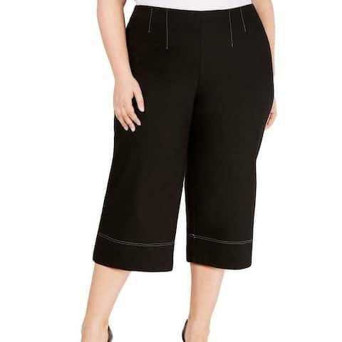 INC Womens Pants Black Size 1X Plus Contrast Stitch Cropped Stretch