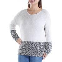 Womens Beige Long Sleeve Jewel Neck Casual Sweater  Size  XS