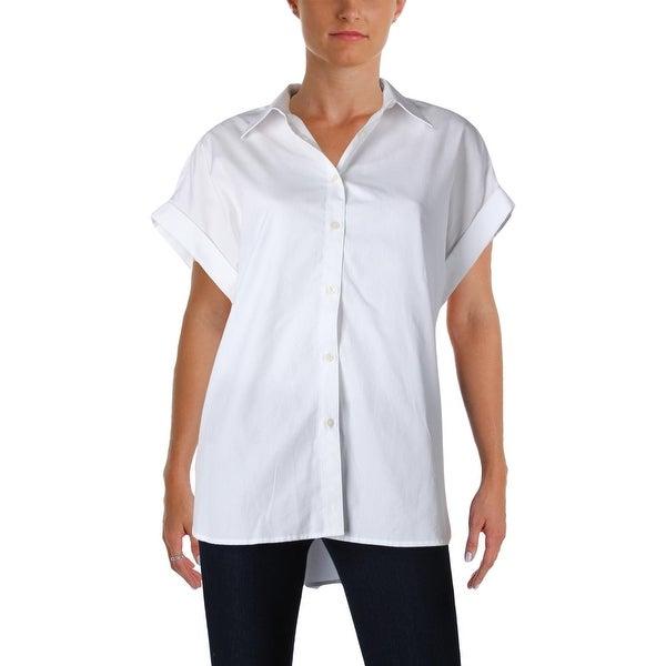 b4467df8 Shop Lauren Ralph Lauren Womens Broono Button-Down Top Collared Hi-Low - Free  Shipping On Orders Over $45 - Overstock - 21006838