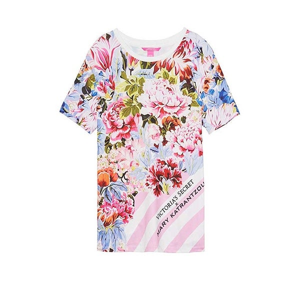 600e03398d9aa Victoria's Secret by Mary Katrantzou Tee Shirt Pink Stripe Floral Crew Neck  S - Small