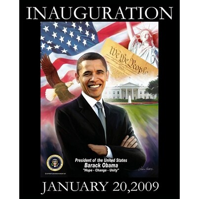 ''Obama Inauguration: Hope, Change, Unity'' by Wishum Gregory African American Art Print (20 x 16 in.)