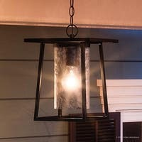 """Luxury Craftsman Outdoor Pendant Light, 13.5""""H x 9.5""""W, with Industrial Style, Cubed Showcase Design, Black Silk Finish"""