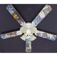 Radical Skateboarding Print Blades 52in Ceiling Fan Light Kit - Multi
