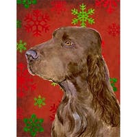 Field Spaniel Red And Green Snowflakes Holiday Christmas Flag -