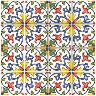 "Brewster NH2365  Tuscan 10"" x 10"" Square Floral Self-Adhesive Resin Peel and Stick Backsplash Tiles - Multi-Colored"