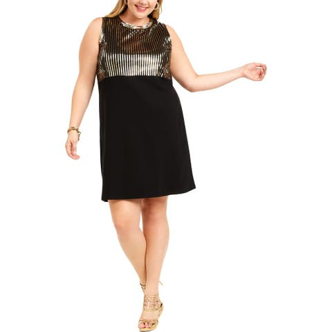MICHAEL Michael Kors Womens Plus Sheath Dress Sequined Above Knee - Black/Gold
