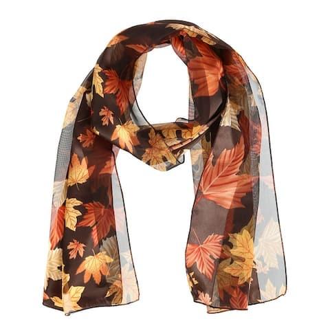 CTM® Women's Autumn Fall Leaf Print Lightweight Scarf - one size