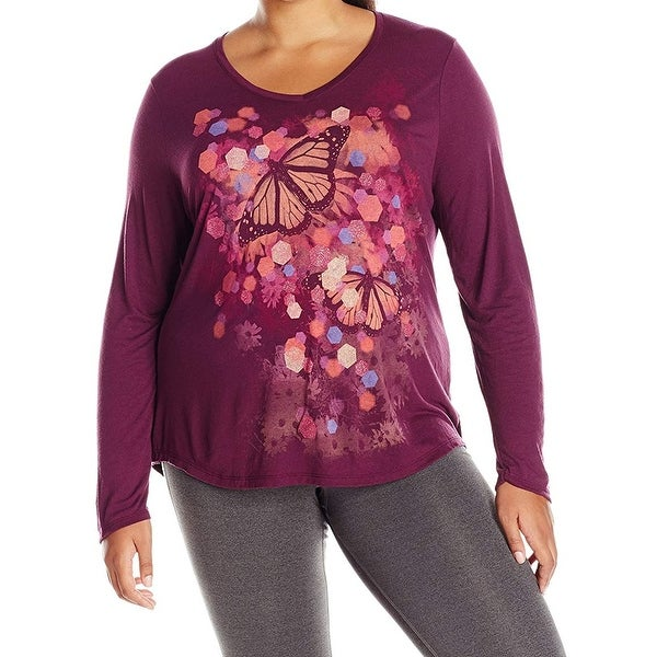 Just My Size Purple Women Size 3X Plus Scoop Neck Butterfly Knit Top