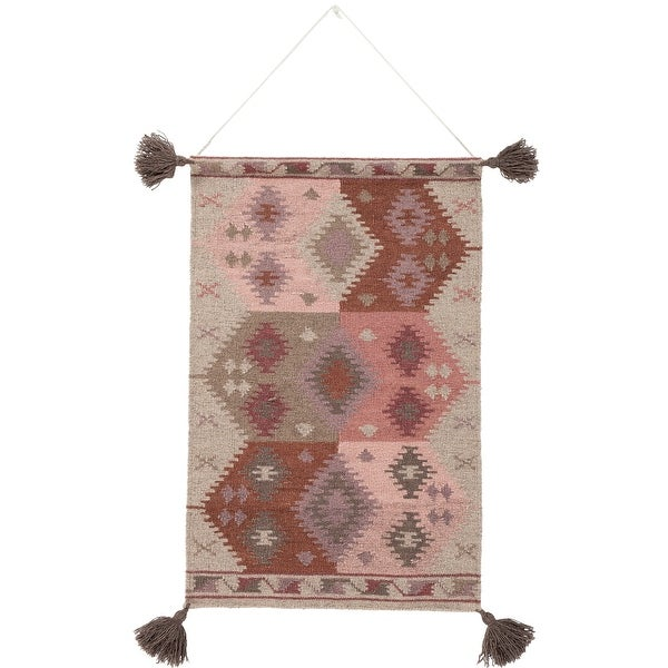 "36"" Taupe and Beige Southwestern Design Hand Woven Wall Hanging - N/A"