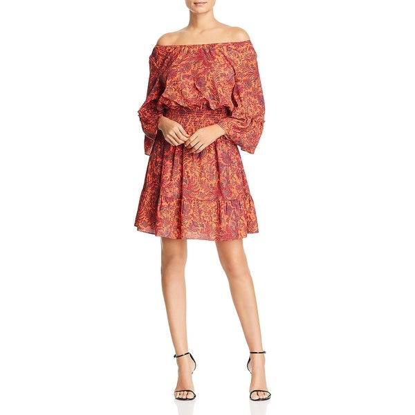 Le Gali Helene Women's Printed Off The Shoulder Shirred Mini Flounce Dress. Opens flyout.