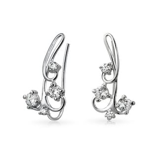 Q Gold Stainless Steel Polished with CZ Ear Climbers