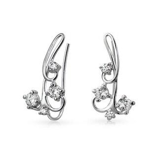 Bling Jewelry .925 Silver Modern Swirl CZ Ear Pins Ear Crawlers Rhodium Plated
