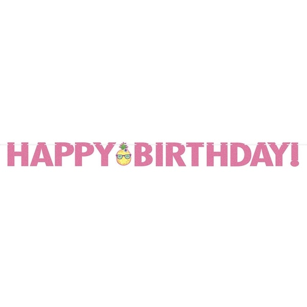 "Pack of 6 Pink and Yellow ""Happy Birthday"" Decorative Jointed Banner 8.25"""