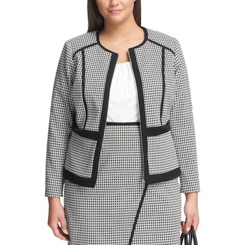 Calvin Klein Womens Plus Jacket Houndstooth Zip-Front