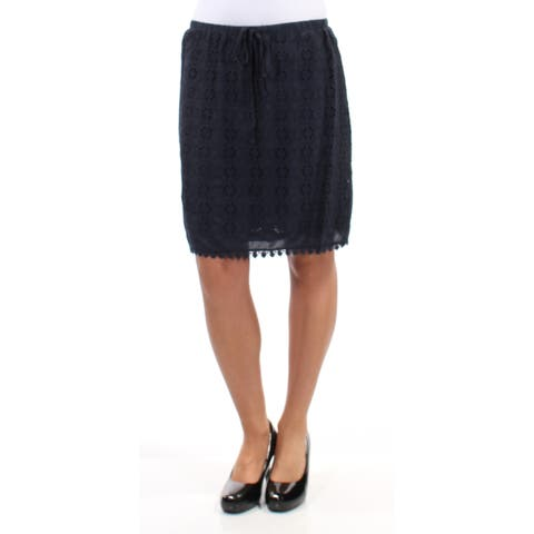 STUDIO M Womens Navy Eyelet Embroidered Geometric Above The Knee Pencil Skirt Size: XS