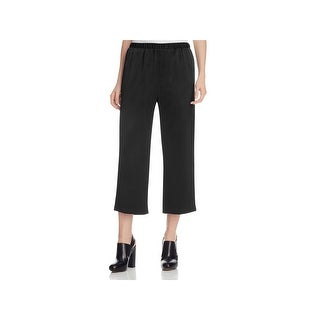 Eileen Fisher Womens Petites Cropped Pants Silk Back Satin